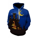 Moon Castle Print Long Sleeve Oversized Hoodie
