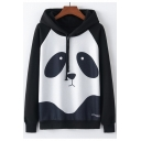 Color Block Panda Raglan Long Sleeve Casual Hoodie
