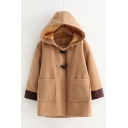 Contrast Cuffs Long Sleeve Double Button Hooded Woolen Coat