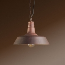 Vintage Style Rust Iron Barn Shade Single Head Pendant Light with Adjustable Hanging Chain 3 Sizes Available