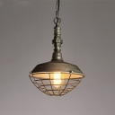 Heavy Industrial Style Wire Guard Ceiling Pendant Lamp with Water Pipe Lamp Socket 10.24