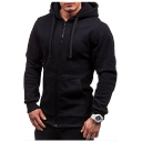 Plain Long Sleeve Zip Closure Casual Hoodie for Men