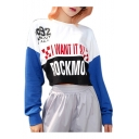 Color Block Letter Graphic Printed Long Sleeve Round Neck Sweatshirt