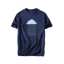 Cloud Number Printed Round Neck Short Sleeve T-Shirt