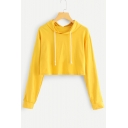 Leisure Plain Long Sleeve Casual Cropped Hoodie