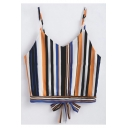Contrast Striped Printed Spaghetti Straps Sleeveless Bow Tie Back Cropped Cami