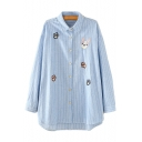Dog Pow Embroidered Striped Printed Lapel Collar Long Sleeve Button Front Leisure Shirt