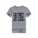 I'M SORRY Letter Printed Round Neck Short Sleeve T-Shirt