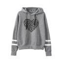 Paw Heart Printed Contrast Striped Long Sleeve Hoodie