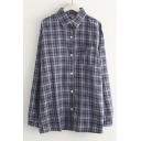 Plaid Printed Lapel Collar Long Sleeve Button Closure Shirt