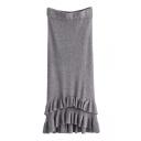 Plain High Waist Ruffle Hem Knit Slim Maxi Pencil Skirt