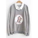 Contrast Lapel Collar Letter Dinosaur Embroidered Fake Two Pieces Sweatshirt