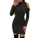 High Neck Plain Long Sleeve Cold Shoulder Mini Bodycon Dress