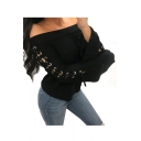 Lace Up Detail Long Sleeve Off The Shoulder Plain Sexy Sweater
