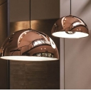 Glossy Copper Finish Dome Shade Down Lighting Ceiling Pendant Light for Restaurant 2 Sizes Available