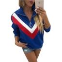 Half-Zip Stand Collar Color Block Long Sleeve Casual Sweatshirt