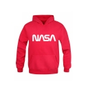 Simple NASA Letter Printed Long Sleeve Casual Hoodie