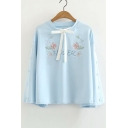 Letter Floral Embroidered Bow Tie V Neck Buttoned Long Sleeve Sweatshirt