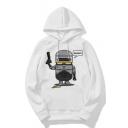 Letter Robot Printed Long Sleeve Hoodie