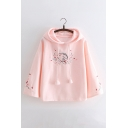 Floral Rabbit Embroidered Long Sleeve Casual Hoodie