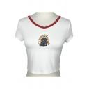 Fire Dog Printed Contrast Round Neck Short Sleeve Crop Tee