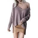 Sexy Plain V Neck Long Sleeve Ribbed Dip Hem Sweater