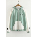 Color Block Cartoon Print Long Sleeve Zip Closure Hoodie