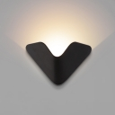 Creative Post Modern V Shaped Led Wall Light 5W Black Finish Decorative Metal LED Up Light Wall Sconce for Hotel Hall Corridor Bedside Stairs