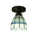 Simple Tiffany-Style Flush Mount Ceiling Light with White Lotus Glass Shade 2 Designs for Choice