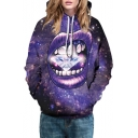 3D Mouth Diamond Galaxy Print Long Sleeve Casual Hoodie