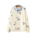 Contrast Denim Lapel Collar Glasses Rabbit Print Long Sleeve Layered Sweatshirt