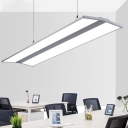 Modern Style Silver Finish Ultra-thin Acrylic Led Linear Pendant Flat Panel Chandelier Warm White Light 3200K-6500K, 18W-36W Aluminum Lighting for Office Meeting Room Workbench Garage