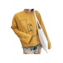 High Neck Character Printed Long Sleeve Leisure Sweatshirt