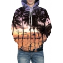 Sea Landscape Printed Long Sleeve Casual Hoodie