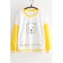 Color Block Bear Letter Printed Round Neck Long Sleeve Sweatshirt with Kangaroo Pocket
