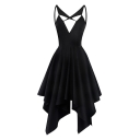 Sexy Hollow Out Front Spaghetti Straps Sleeveless Midi Asymmetric Dress
