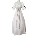 Square Neck Short Sleeve Tie Waist Bow Embellished Maxi A-Line Dress