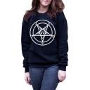 Circle Star Printed Round Neck Long Sleeve Sweatshirt