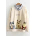Contrast Striped Lapel Collar Cat Letter Printed Fake Two Pieces Sweatshirt