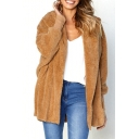 Winter Collection Faux Fur Plain Long Sleeve Rib Knit Cuff Open Front Hooded Coat