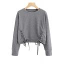 Lace Up Detail Hem Round Neck Long Sleeve Cropped Sweatshirt
