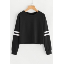 Round Neck Contrast Striped Long Sleeve Cropped Sweatshirt
