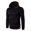 Zipper Embellished Long Sleeve Slim Menswear Hoodie