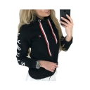Fashion Letter Printed Long Sleeve Slim Hoodie