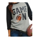 GAME Letter Rugby Printed Contrast Raglan 3/4 Length Sleeve T-Shirt
