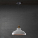 Industrial Pendant Light with Metal Shade in White