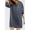 Contrast Floral Panel Round Neck Long Sleeve Mini Sweatshirt Dress