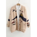 Collarless Cartoon Pattern Button Front Long Sleeve Loose Cardigan
