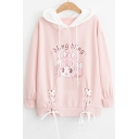 BLING BLING Letter Character Printed Contrast Hood Lace Up Hem Long Sleeve Hoodie