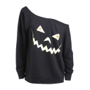 Sexy One Shoulder Pumpkin Printed Long Sleeve Loose Sweatshirt